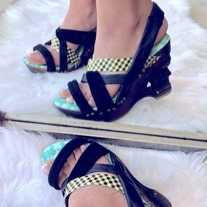Irregular Choice Dominara Black Gingham Wood Heel